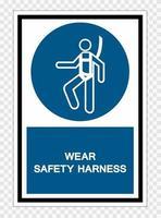 usar sinal de símbolo de arnês de segurança isolado em fundo transparente, ilustração vetorial vetor