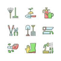 equipamentos de jardinagem conjunto de ícones de cores rgb vetor