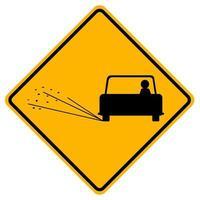 sinais de alerta solta superfície da estrada no fundo branco vetor