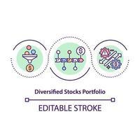 ícone de conceito de portfólio de ações diversificadas vetor