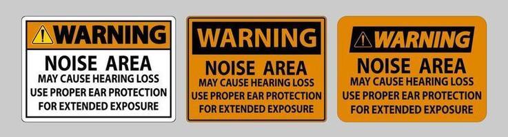 sinal ppe de aviso, área de ruído pode causar perda de audição, use proteção auditiva adequada para exposição prolongada