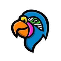 mascote do lado da cabeça do papagaio vetor