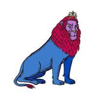 leão azul sentado usando tiara coroa gravura vetor