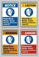 área de ruído perigosa, proteção auditiva necessária