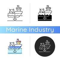 ícone de navio ancorado vetor