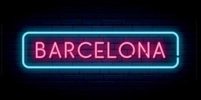 sinal de néon de Barcelona. quadro indicador de luz brilhante. vetor