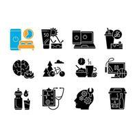 ícones de glifo preto de atividade saudável definidos no espaço em branco vetor