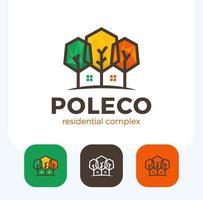 Conjunto de casa de casa poli colorida em espaço negativo vetor