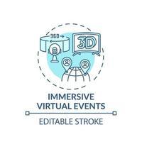 ícone do conceito de eventos virtuais imersivos vetor