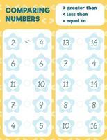 comparando a planilha de números, planilha de impressão de prática ilustração vetorial. vetor