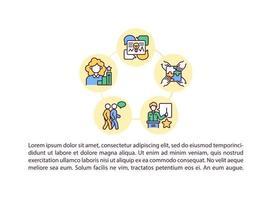 ícones de linha de conceito de crescimento profissional com texto vetor