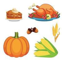 conjunto de ícones do dia de ação de graças vetor