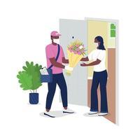 entregador com máscara facial oferece caracteres detalhados de vetor de flores femininas com cores planas