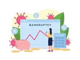 ilustração em vetor conceito plano gráfico recessão financeira