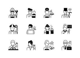 conjunto de ícones lineares pretos de status social vetor