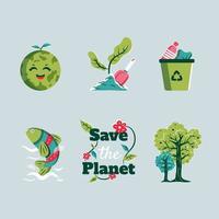 salve o planeta salve o ícone da terra vetor