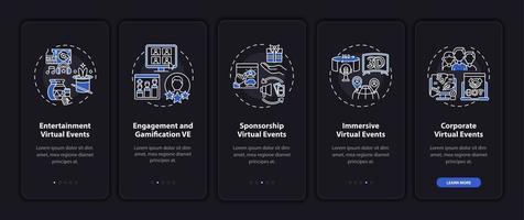 tipos de reuniões remotas tela de página de aplicativo móvel de integração com conceitos vetor
