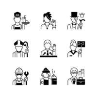 conjunto de ícones lineares pretos de classe social vetor