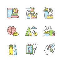conjunto de ícones de cores rgb desenvolvimento de hábitos saudáveis vetor