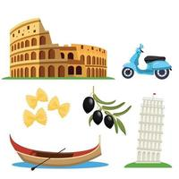 conjunto de ícones itália vetor