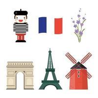 conjunto de ícones da França vetor
