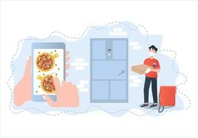 ilustração em vetor pizza entrega sem contato. pedidos de pizza via app. conceito de ilustração vetorial entrega em domicílio pizza segura sem toque.