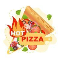 ilustração em vetor pizza quente rústica. vetor, isolado. vegetais, junk food.