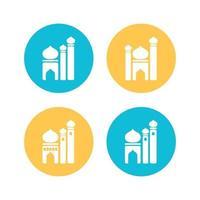 definir ícone de imagem vetorial de design plano de mesquita vetor