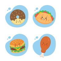 conjunto de 4 comida kawaii vetor
