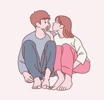 um lindo casal está sentado em uma pose amigável. mão desenhada estilo ilustrações vetoriais. vetor