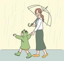 uma mãe e uma criança com capas de chuva de sapo caminham alegremente na chuva. mão desenhada estilo ilustrações vetoriais. vetor