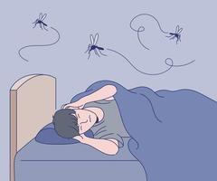 um homem não consegue dormir ao som dos mosquitos. mão desenhada estilo ilustrações vetoriais. vetor