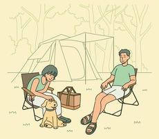 um homem, uma mulher e um cachorro acampam juntos na natureza. mão desenhada estilo ilustrações vetoriais. vetor