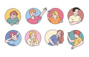 as pessoas se destacam no círculo e fazem várias expressões faciais. mão desenhada estilo ilustrações vetoriais. vetor