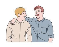 dois amigos estão mostrando expressões de alegria. mão desenhada estilo ilustrações vetoriais. vetor