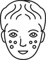 ícone de linha para dermatologia vetor