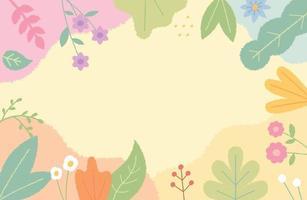 ilustração do cartão decorada com flores bonitos e folhas na borda. modelo de design de padrão simples. vetor
