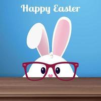 coelhinho da Páscoa branco com óculos em um fundo azul - vetor