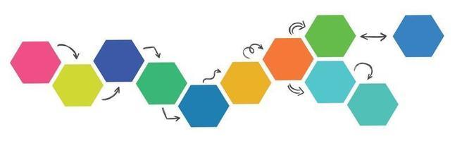hexágonos multicoloridos com setas em um fundo branco - vetor