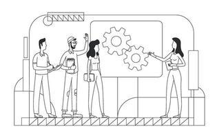 brainstorming corporativo ilustração vetorial de linha fina. equipe profissional delinear personagens em fundo branco. desenvolvimento de projetos de negócios, geração de ideias, desenho de estilo simples de trabalho em equipe vetor