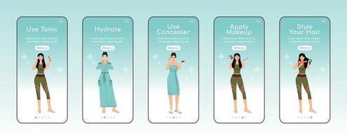 skincare nutrir etapas onboarding modelo de vetor plano tela de aplicativo móvel. toner usando. passo a passo do site com personagens. ux, ui, interface de desenho animado de smartphone gui, conjunto de estampas de capa