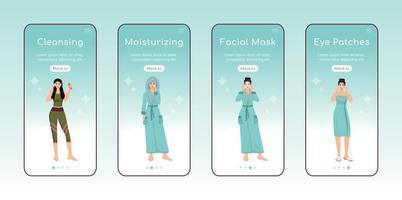 skincare steps onboarding app mobile screen flat vector template. limpeza e hidratação do rosto. passo a passo do site com personagens. ux, ui, interface de desenho animado de smartphone gui, conjunto de estampas de capa