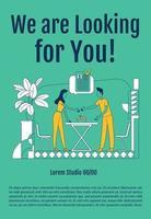 estamos procurando por você modelo de vetor de silhueta plana de cartaz. brochura da agência de RH, projeto de conceito de uma página do livreto com personagens de desenhos animados folheto de emprego profissional, folheto com espaço de texto