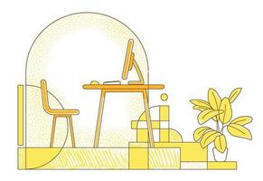 freelancer ilustração em vetor silhueta plana no local de trabalho. espaço de trabalho remoto, composição de contorno de escritório em casa em fundo amarelo. sala vazia com desenho de estilo simples de computador desktop