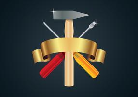 Martelo e chave de fenda cruz vetor