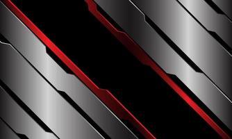 abstrato preto bandeira vermelha azul circuito metálico linha cibernética barra geométrica design moderno luxo futurista tecnologia fundo ilustração vetorial. vetor