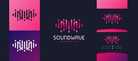 Logotipo da letra m inicial com conceito de onda sonora em gradiente colorido, utilizável para logotipos de empresas, tecnologia ou estúdio de música vetor