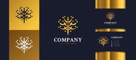 logotipo de árvore de ouro de luxo com folhagem, adequado para logotipos de hotéis, spas, resorts ou imobiliárias