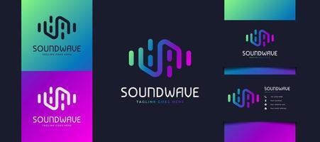 design de logotipo de onda sonora colorida, adequado para logotipos de estúdio de música ou tecnologia. modelo de design de logotipo do equalizador vetor