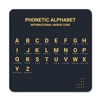 alfabeto fonético e código morse internacional adequado para uso marítimo e aviação. educação e impressão vetor